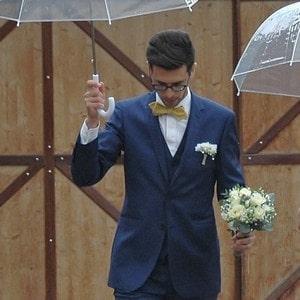 Costume 3 pièces bleu pour mariage en Alsace